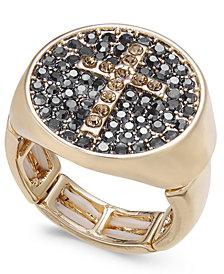 Thalia Sodi Gold-Tone Pavé Cross Stretch Ring, Created for Macy's