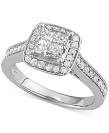 Diamond Quad Halo Engagement Ring (1 ct. t.w.) in 14k White Gold