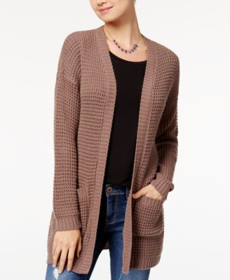 One Hart Juniors' Cable-Knit Oversized Cardigan - Sweaters ...