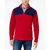 Club Room Men's Colorblock Quarter Zip Fleece Pullover