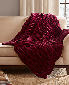 "Madison Park Reversible Oversized Ruched Faux-Fur 50"" x 70"" Throw"