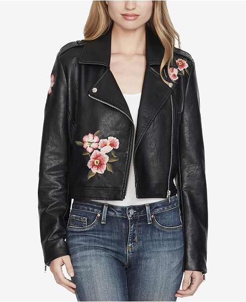 fashion promo codes classic style of 2019 Jessica Simpson Embroidered Faux-Leather Moto Jacket ...