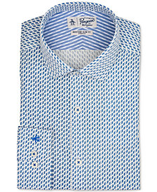 Original Penguin Men's Heritage Slim-Fit Stretch Dark Blue Pattern Dress Shirt