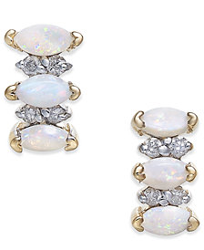 Opal (5/8 ct. t.w.) & Diamond Accent Drop Earrings in 14k Gold