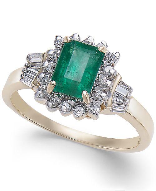 Macy's Emerald (9/10 ct. t.w.) & Diamond (1/4 ct. t.w.) Ring in 14k Gold