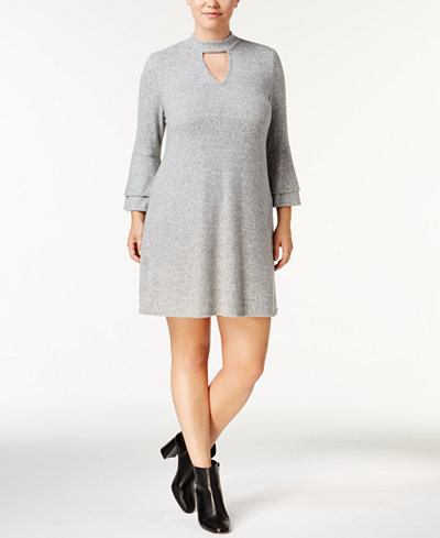 BCX Trendy Plus Size Bell-Sleeve Choker Dress