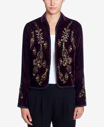 Catherine Catherine Malandrino Winstead Embroidered Velvet Jacket - Jackets  - Women - Macy's