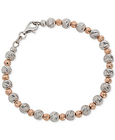 Giani Bernini Two-Tone Textured Beaded Bracelet, Created for Macy's