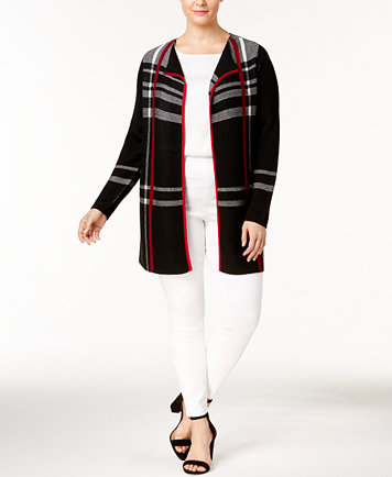Charter Club Plus Size Plaid Duster Cardigan, Created for Macy's ...