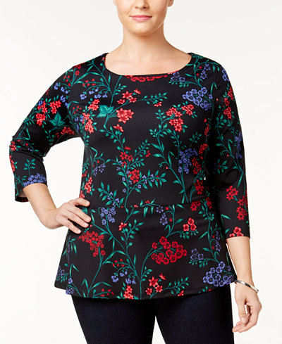 Charter Club Plus Size Printed Peplum Top, Created for Macy's