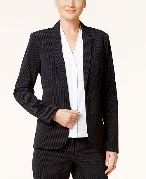 Calvin Klein Pinstriped One-Button Blazer