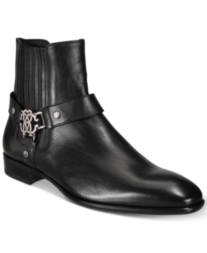Roberto Cavalli Men's Logo Harness Moto Boots