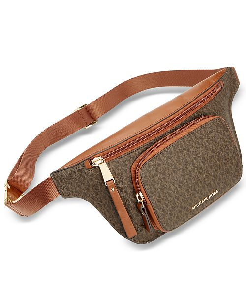 6e18ae7a15a8 Michael Kors Double-Zipper Signature Belt Bag & Reviews ...