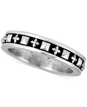 Men's Stud & Cross Stack Ring in Sterling Silver