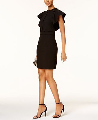 Ivanka Trump Ruffled Scuba Sheath Dress