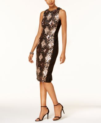 JAX Sequined Midi Sheath Dress