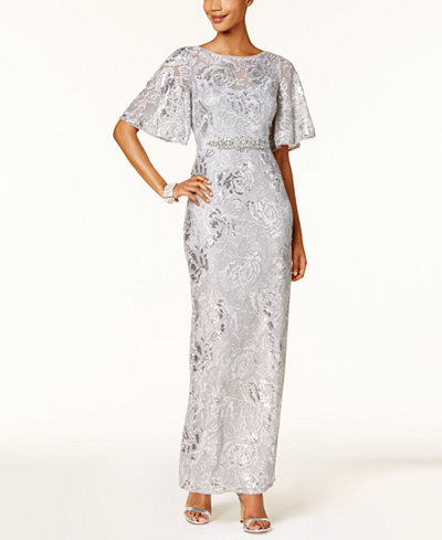 Adrianna Papell Sequined Embroidered Gown