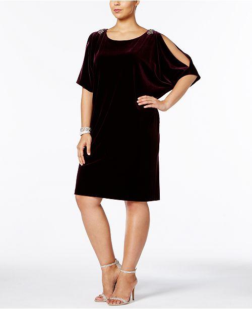 2d9d8f912e1 Alex Evenings Plus Size Velvet Cold-Shoulder Dress   Reviews ...