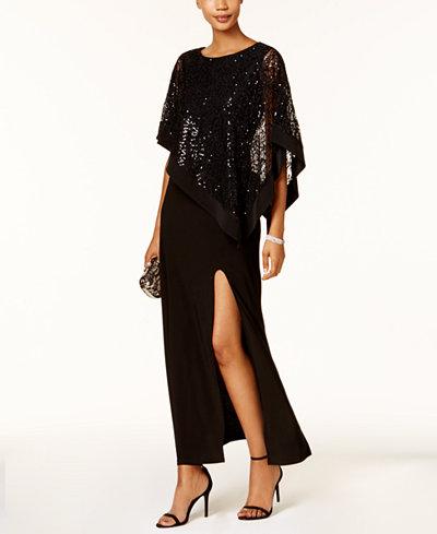 R Amp M Richards Sequined Lace Cape Gown Dresses Women