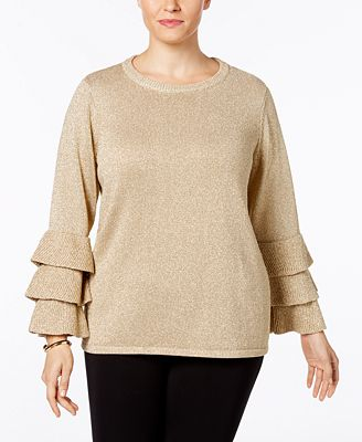Calvin Klein Plus Size Metallic Ruffle-Sleeve Sweater - Sweaters ...
