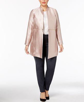 alfani plus size metallic jacket, created for macy's - jackets