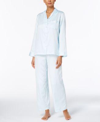 Miss Elaine Petite JacquardBrushedBack Satin Pajama Set Lingerie
