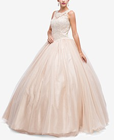 Juniors' Sequined Appliqué Gown