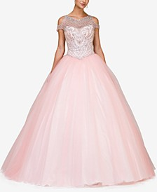 Juniors' Embellished Cold-Shoulder Gown