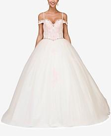 Juniors' Embellished Off-The-Shoulder Gown