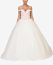 Dancing Queen Juniors' Embellished Off-The-Shoulder Gown
