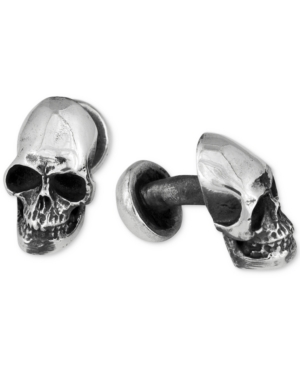King Baby Men's Skull Ball Post Cuff Links in Sterling Silver