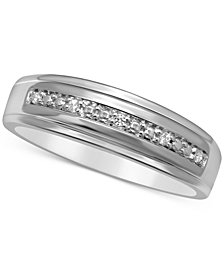 Men's Diamond Accent Wedding Band in 14k White Gold