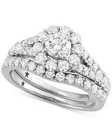 Macy's Star Signature Diamond™ Halo Bridal Set (2 ct. t.w.) in 14k White Gold