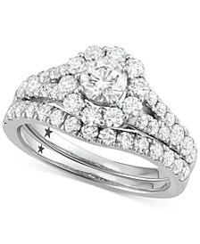 Macy's Star Signature Diamond™ Halo Bridal Set (2 ct. t.w.) in 14k White Gold