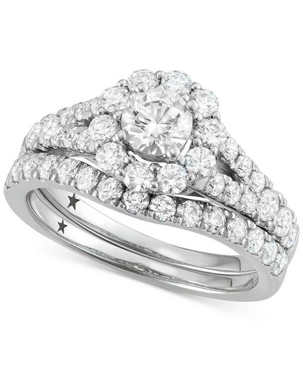 Macy's Star Signature Diamond Halo Bridal Set (2 ct. t.w.) in 14k White Gold