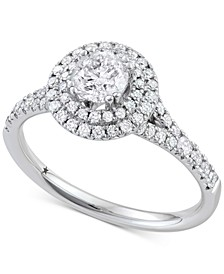 Double Halo Engagement Ring (1-1/10 ct. t.w.) in 14k White Gold