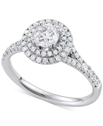Macy's Star Signature Diamond™ Double Halo Engagement Ring (1-1/10 ct. t.w.) in 14k White Gold