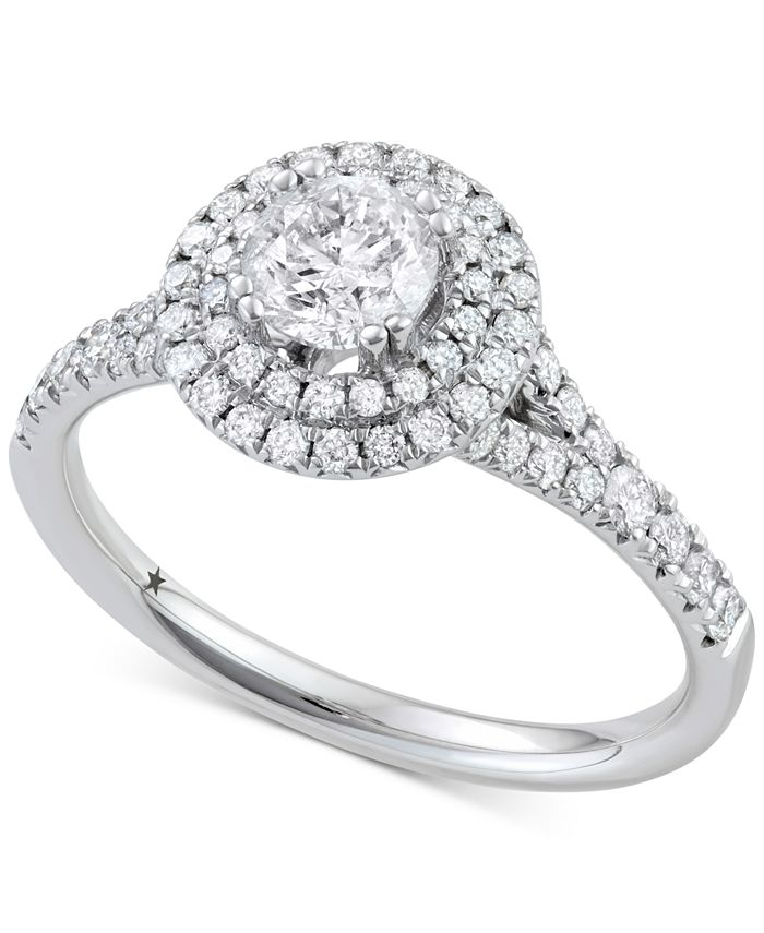 Macy's Star Signature Diamond - Diamond Double Halo Engagement Ring (1-1/10 ct. t.w.) in 14k White Gold