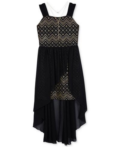 BCX Foil-Print High-Low Hem Dress, Big Girls