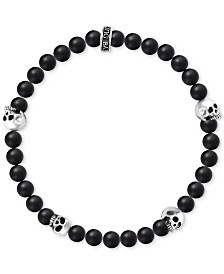 King Baby Men's Onyx Skull Stretch Bracelet in Sterling Silver