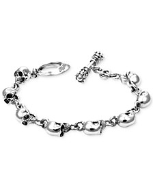 Men's Skull Link Bracelet in Sterling Silver