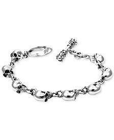 King Baby Men's Skull Link Bracelet in Sterling Silver