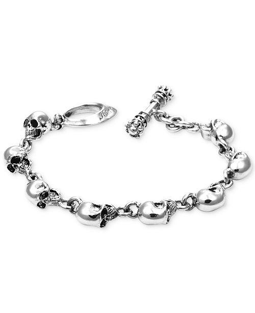Skull Link Bracelet In Sterling Silver