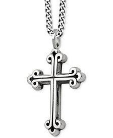 King Baby Men's Scroll Cross Pendant Necklace in Sterling Silver