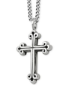 King Baby Men's Scroll Cross Pendant Necklace in Sterling Silver