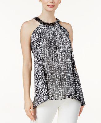 Dknyc Womens Sleeveless Back Crossover Top Melon - Shirts & Tops