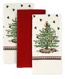 CLOSEOUT! Spode   Christmas Tree Set of 3 Kitchen Towels, Created for Macy's