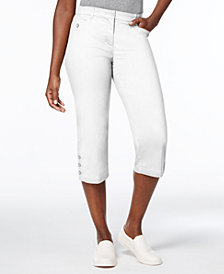 Karen Scott Petite Button-Cuff Capri Pants, Created for Macy's