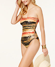 Carmen Marc Valvo Pacific Sunset Bandeau Cutout One-Piece Swimsuit