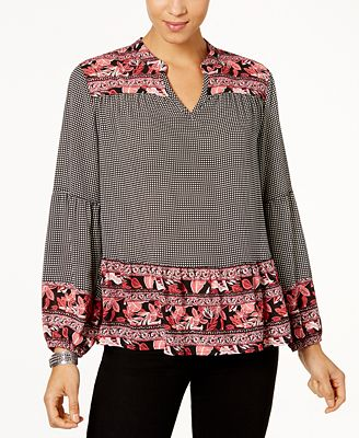 Style & Co Petite Mixed-Print Bishop-Sleeve Top, Created for Macy's